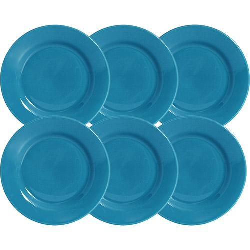 Conjunto de 6 pratos de cerâmica esmaltada na cor azul turquesa,