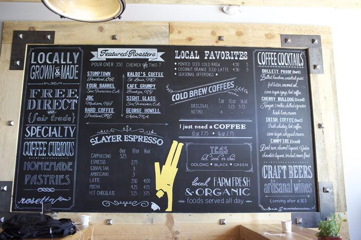Huge 10' x 6' tall coffee shop chalkboard menu. Handpainted and custom designed. Can be created and shipped in sections for coffee shops, cafe's or restaurants. #beecuriousdesigns on etsy #chalkboardmenu #coffeeshop #menu #coffeechalkboard #chalkmenu