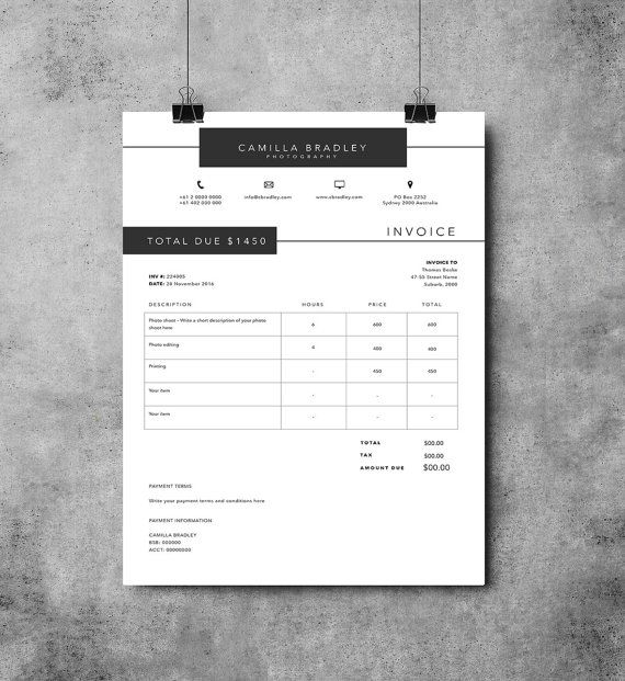Organise your charges with our professional and modern invoice design. This template allows you to clearly itemize your charges and outline payment terms and methods. It is simple to use and completely customisable with full control over colour and fonts, easy to change wording and to