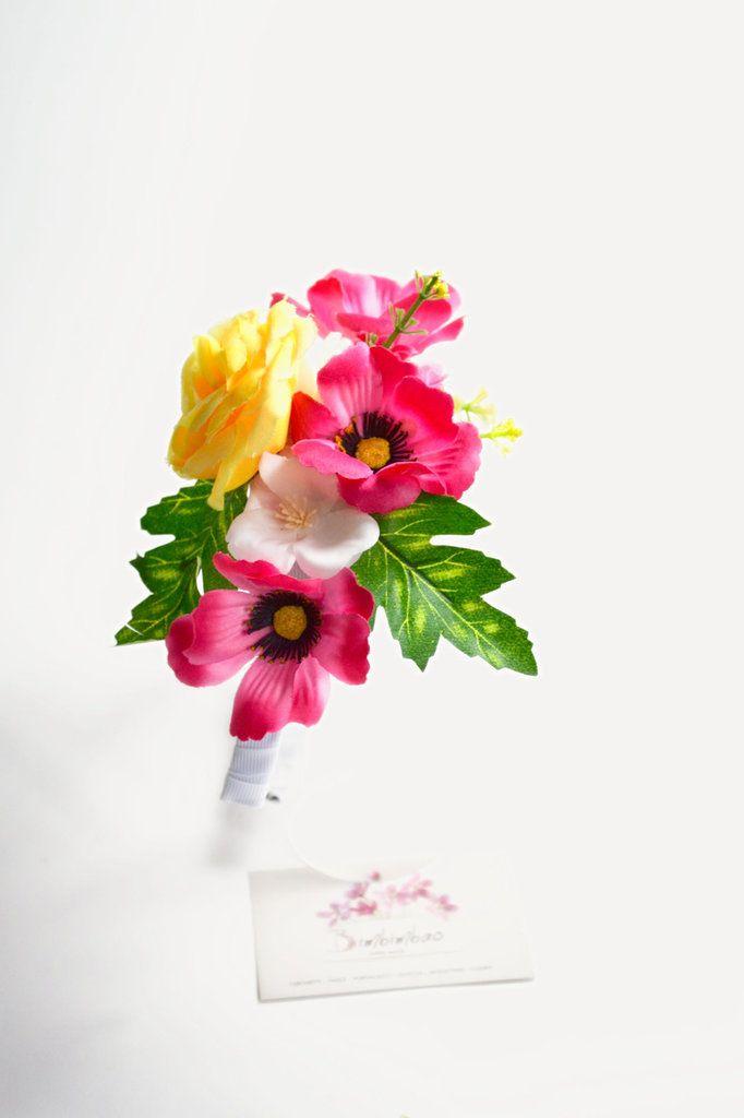 Cerchietto frontino corona coroncina cerchiello fiori floreale estate rosa giallo , by Bimbimbao hand made, 12,00 € su misshobby.com