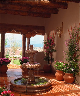 Spanish Fountain  I love Spanish architecture