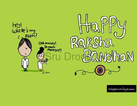 Indian Raksha Bandhan Rakhi Greeting Card Printable  Happy