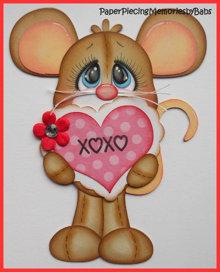 Valentine Mouse created by PAPER PIECING MEMORIES BY BABS using patterns from KaDoodle Bug Designs.