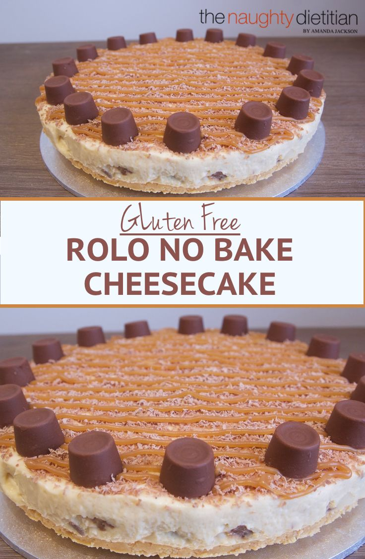 This Gluten Free Rolo No Bake Cheesecake will leave you feeling so satisfied. It's made with homemade caramel sauce and Rolo chocolates. Yum! | Gluten Free Dessert | Gluten Free Recipes | Easy Gluten Free Recipes | Dessert | Easy Cheesecake Recipes | Chocolate Dessert | www.thenaughtydietitian.com | Gluten Free Cheesecake | No Bake Cheesecake | No Bake Cheesecake Recipes | No Bake Desserts | No Bake Dessert Recipes