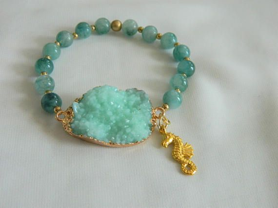 Sea green druzy bracelet with golden seahorse mini charm and