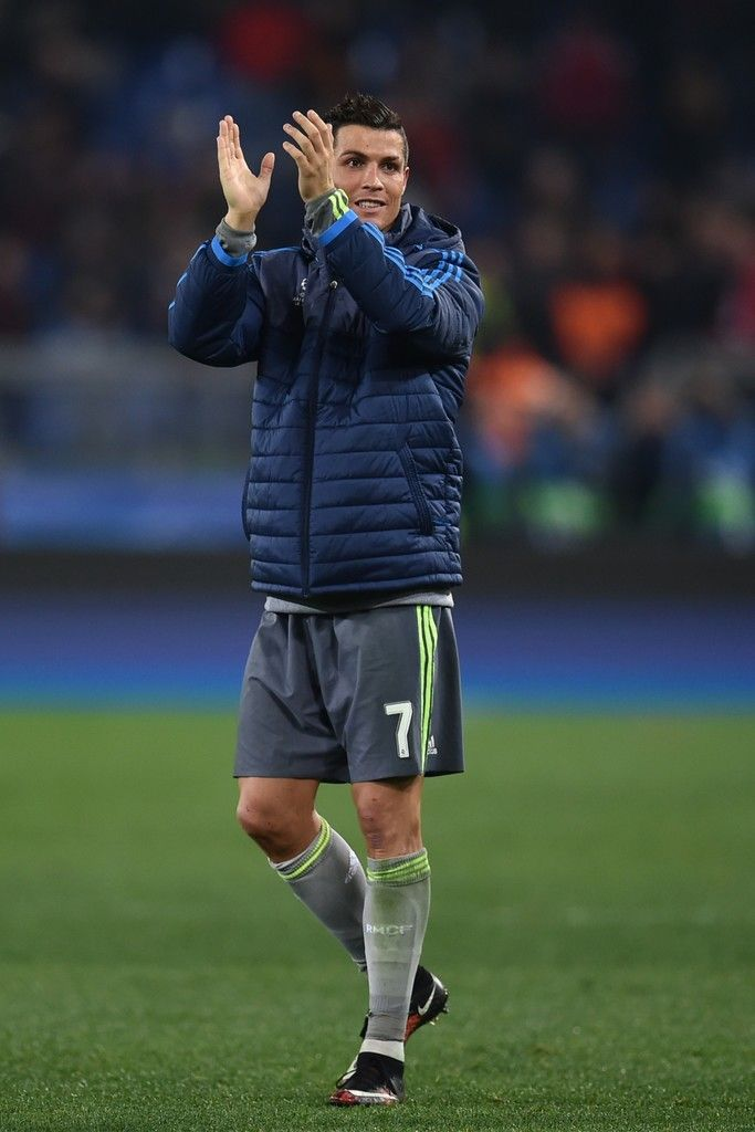 Real Madrid's Portuguese forward Cristiano Ronaldo celebrates at the end of the UEFA Champions League football match AS Roma vs Real Madrid on Frebruary 17, 2016 at the Olympic stadium in Rome.