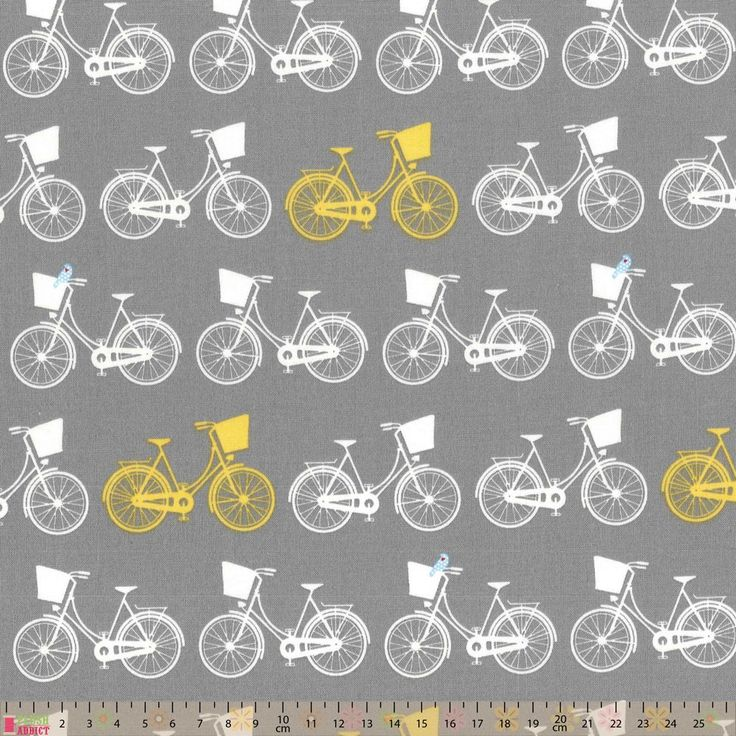 Nutex Whimsical Wheels Bike Rows Yellow Grey