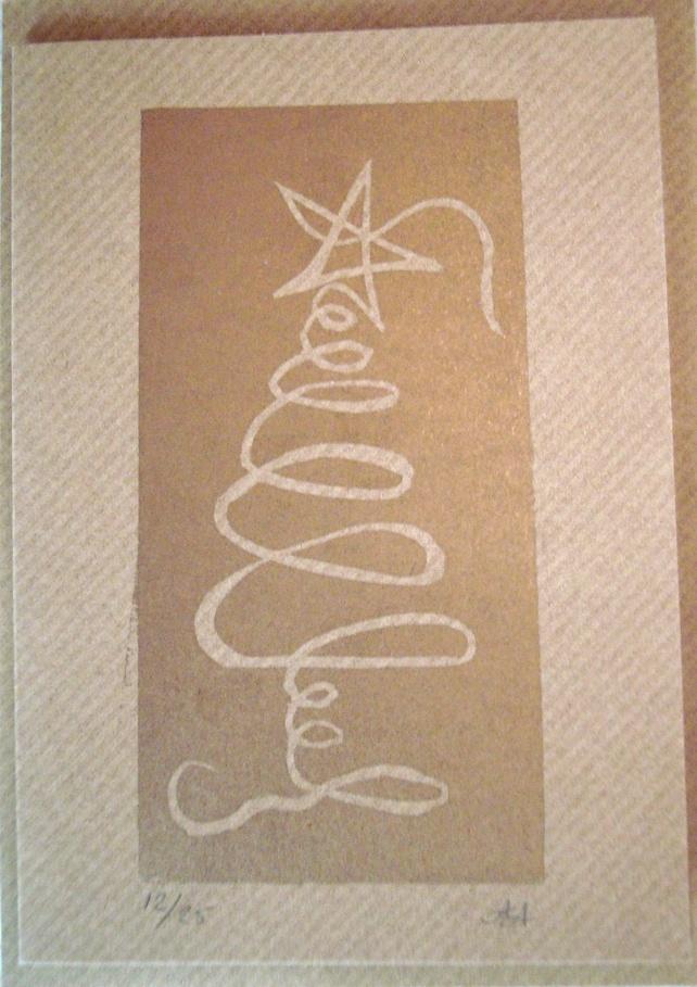 Squiggle Christmas Tree card - Original lino print
