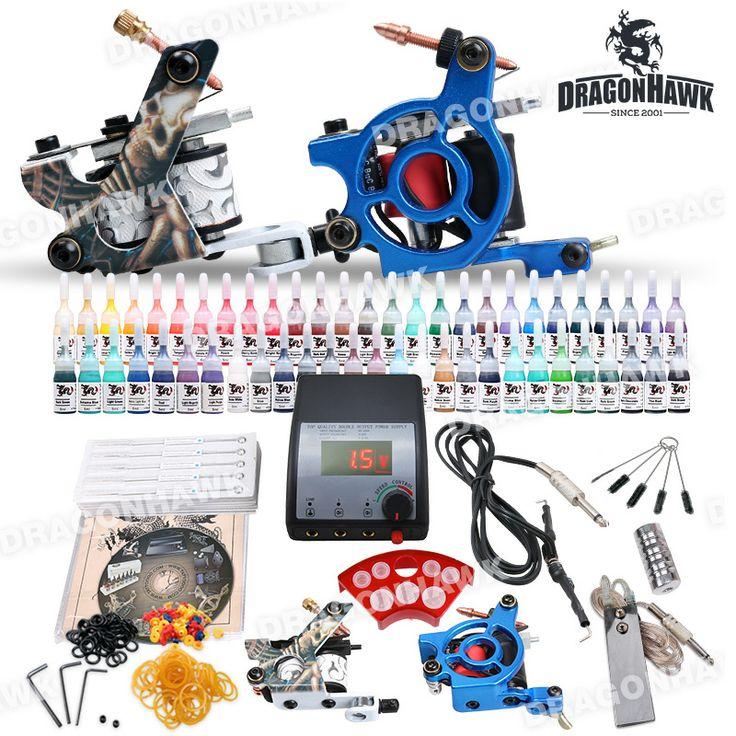 Beginner tattoo kit set 54 color inks power supply 2 guns