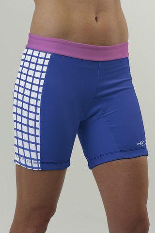 Women's specific triathlon shorts in checkmate design // Coeur Sports