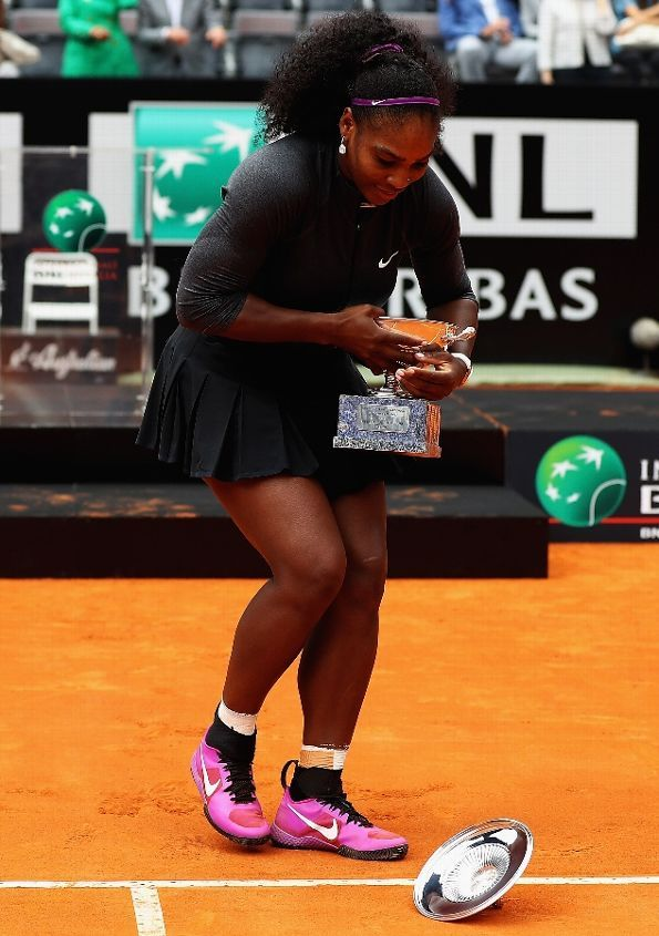 ROME, ITALY - MAY 15: Serana Williams of the United States looks on, after the lid fell off the trophy after winning against Madison Keys of the United States during the Womens Singles Finalduring day eight of The Internazionali BNL d'Italia 2016 on May 15, 2016 in Rome, Italy. (Photo by Matthew Lewis/Getty Images)