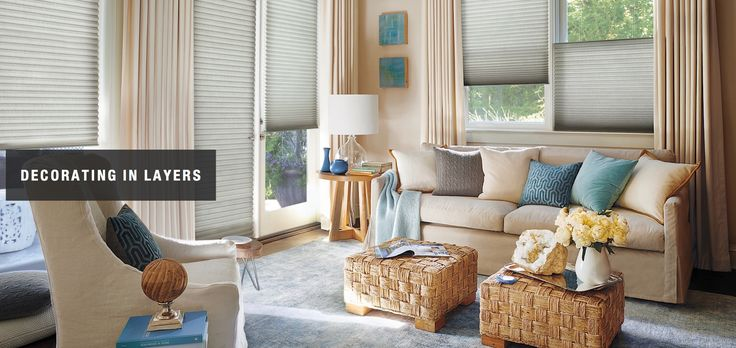 Decorating in layers; with Duette® honeycomb shades - available at ASAP Blinds in Manasquan, NJ