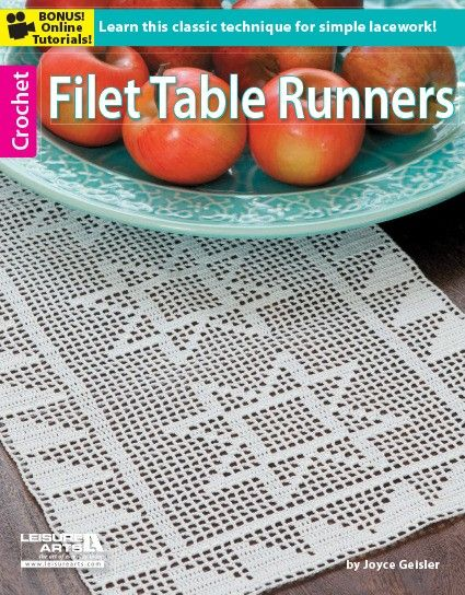 Filet Table Runners - Designed to complement every dÈcor, these contemporary runners by Joyce Geisler add a fresh look to tables, dressers, desks, counters -- any surface that needs a light and airy accessory. Easy-read stitch charts are provided for all 8 filet crochet designs. Shown here in white bedspread weight cotton, they would also look amazing in the color of your choice!  8 designs: Picket Fence, Chain Link, Diamonds, Hearts and Lace, Sawtooth Stars, Stars and Stripes, Ziggy Zaggy…