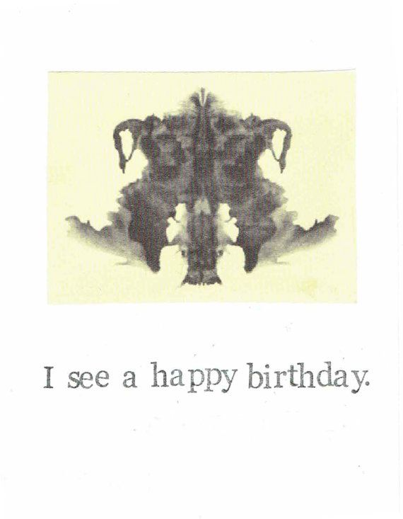 Rorschach Test Card I See A Happy Birthday Card | Psychology Psychoanalysis Jung Freud Mom Dad Psychiatrist Humor Funny Men Women Nerdy