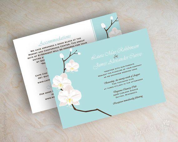 Destination wedding invitations, beach wedding invitations, tropical, orchid wedding stationery, light tiffany blue, teal, aqua, Jayda