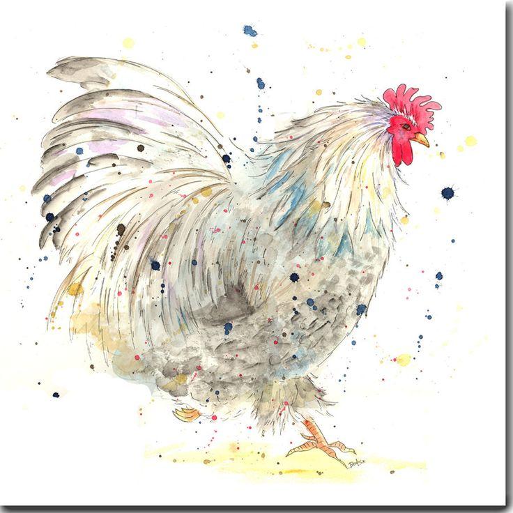 Aquarelle de carte de voeux carte de poulet PODGE