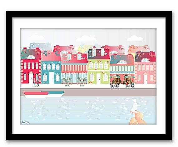 Copenhaguen print art print travel colourful por Ilustracionymas