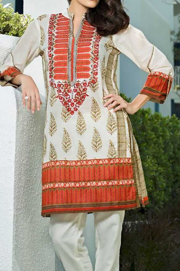 Buy Off-White/Orange Embroidered Cotton Lawn Kurta by Orient Embroidered Lawn Kurti 2015.