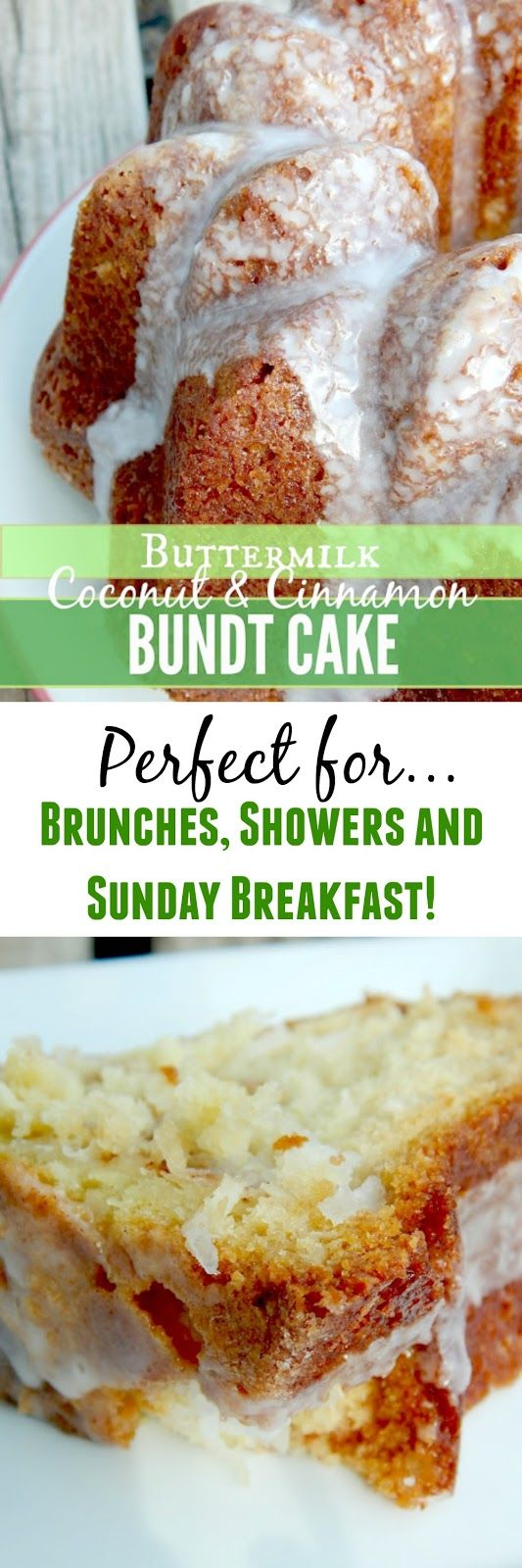 Coconut & Cinnamon Buttermilk Bundt Cake...rich, moist and perfect for brunches, Sunday breakfasts, wedding showers and more!