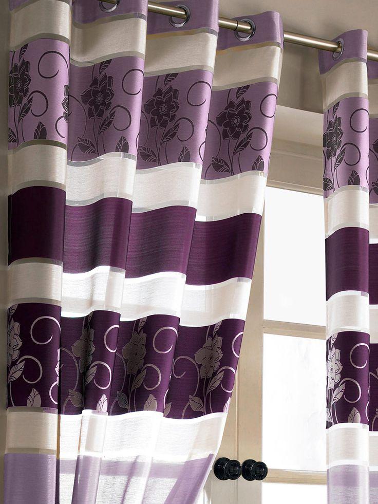 Jasmine Floral Purple Eyelet Voile Curtain