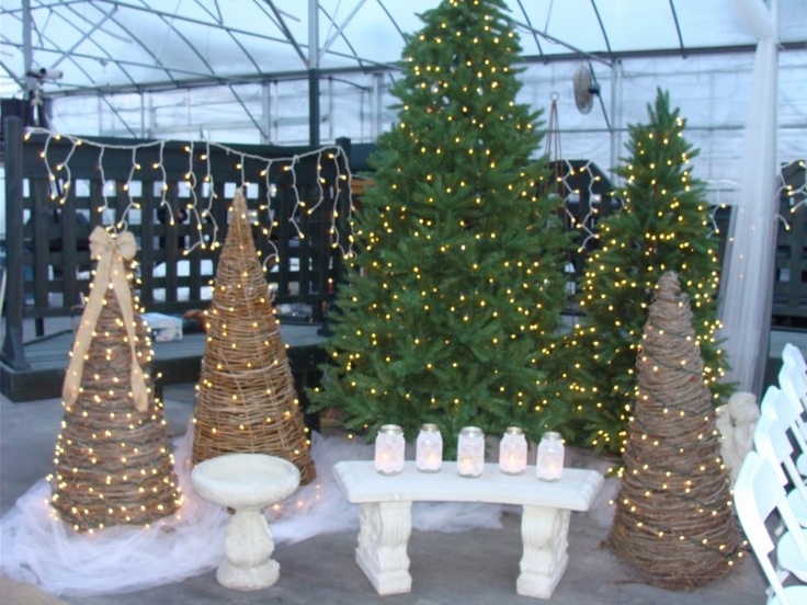 Scheiderer Farms winter wedding decorated with grapevine trees and Christmas lights.  Mason jars with lace added a nice touch.