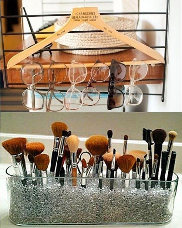 Dicas de organização no quarto, inclusive para as miudezas que  toda mulher tem um monte: produtos de maquiagem, lenços, bolsas, cintos…