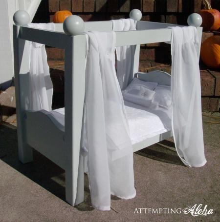 "Canopy Doll Bed for American Girls 18"" Dolls - DIY"