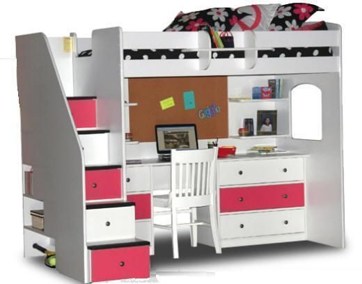 Pink White Loft Beds for Stairs  Makayla  Pinterest
