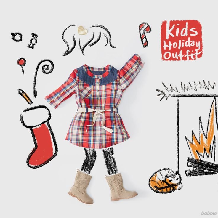 Looking for fashion inspiration for this holiday season? Your little lady will look festive in this plaid dress and warm winter boots.