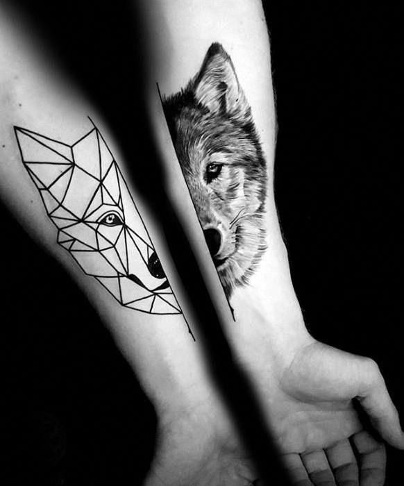 Male Tattoo With Geometric Wolf Inner Forearm Design Coolgeometrictattos Forearm Tattoos Tattoos For Guys Geometric Forearm Tattoo Designs