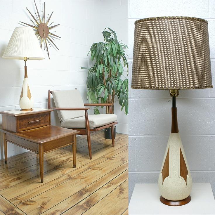 Mid Century Modern Teak And White Ceramic Table Lamp. Beautiful Teak Panels  And Neck On