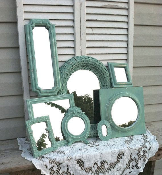 Mint Mirror Wall Collage / 8 Piece Up-Cycled Country French Wall Decor