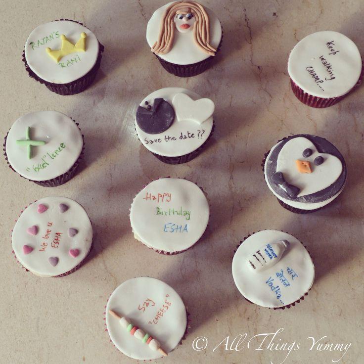 "Cuppies for a soon to be wed office colleague who loves ""paneer"" and her ""vodka"" #penguin #absolut #absolutvodka #paneer #cheese #longhair #girl #excel #wedding #bride #groom #savethedate #princess #crown #pingu #atyummy #cupcakes #customisedcupcakes #couple #delhibakers"