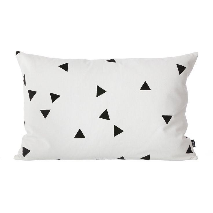Black Mini Triangle Kussen Zwart/Wit
