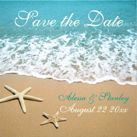Save-the-date beach wedding invitations with starfish. Colorful, warm and inviting.