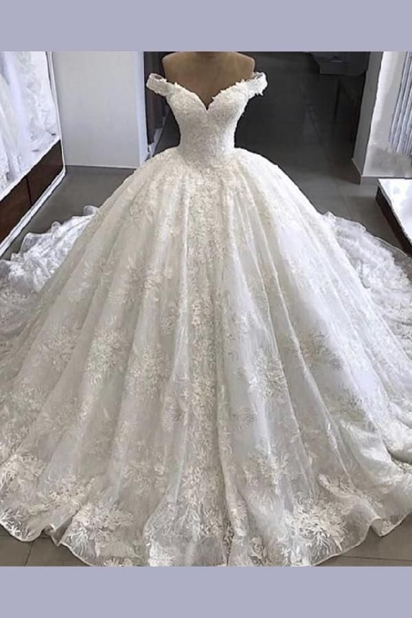 Lace wedding dresses, V-neck wedding dresses