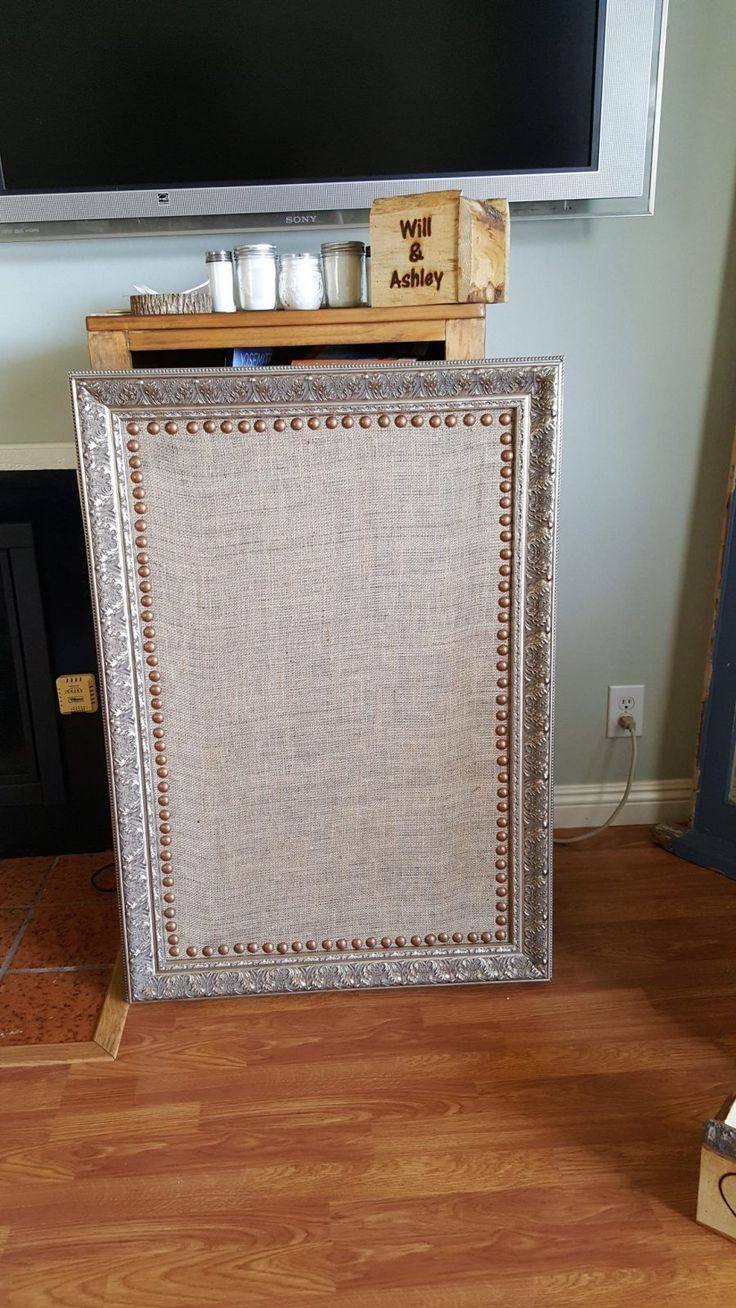 Unused Large Antique Burlap Picture Board-Gold Frame, Copper Studded Detail (24″ by 36″)