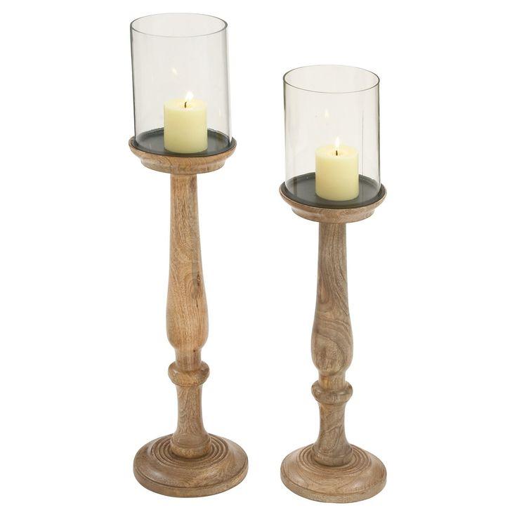 DecMode Oak Brown Candle Holder - Set of 2 - 51584