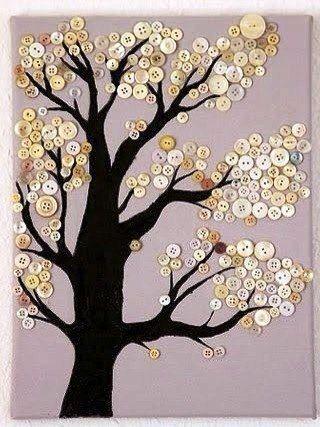 Панно-дерево из пуговиц