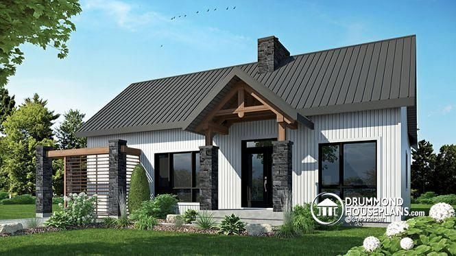 W3992 scandinavian style bungalow cathedral ceiling w for Open beam house plans