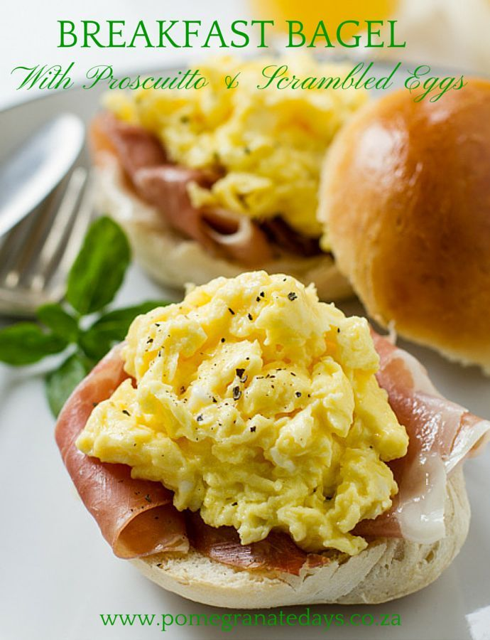 If you are looking for more than just a regular breakfast bagel idea, then this breakfast bagel recipe is for you.  A toasted fresh bagel filled with prosciutto and scrambled egg and then drizzled with truffle oil.  I made this breakfast recipe for Mother's Day, but obviously its great every other day too.