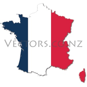 Flag Vector Map of France