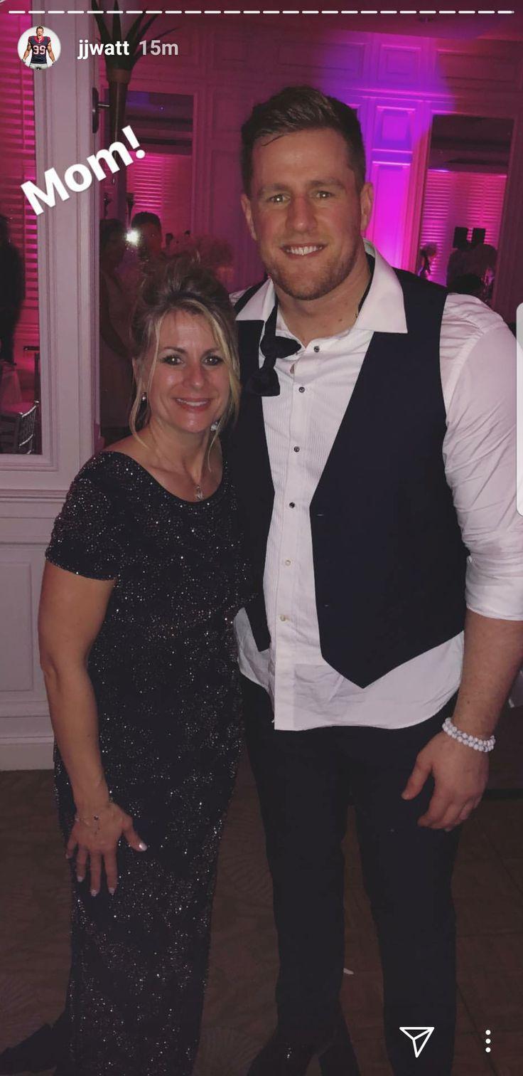JJ Watt's Instagram  2-17-18  JJ and his mom Connie at his brother Derek's wedding... beautiful smiles  #TyingTheWatt #DreamBigWorkHard #HuntGreatness #JustAKidFromPewaukee #HuntGreatness