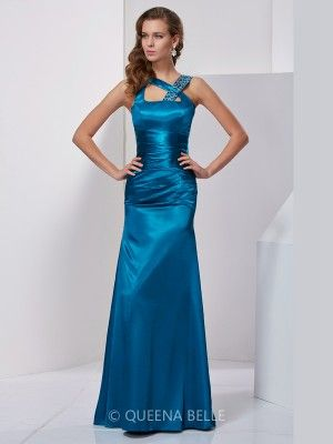 Sheath/Column Silk like Satin Sleeveless Straps Beading Floor-Length Dresses - Sexy Evening Dresses - Evening Dresses - QueenaBelle 2017