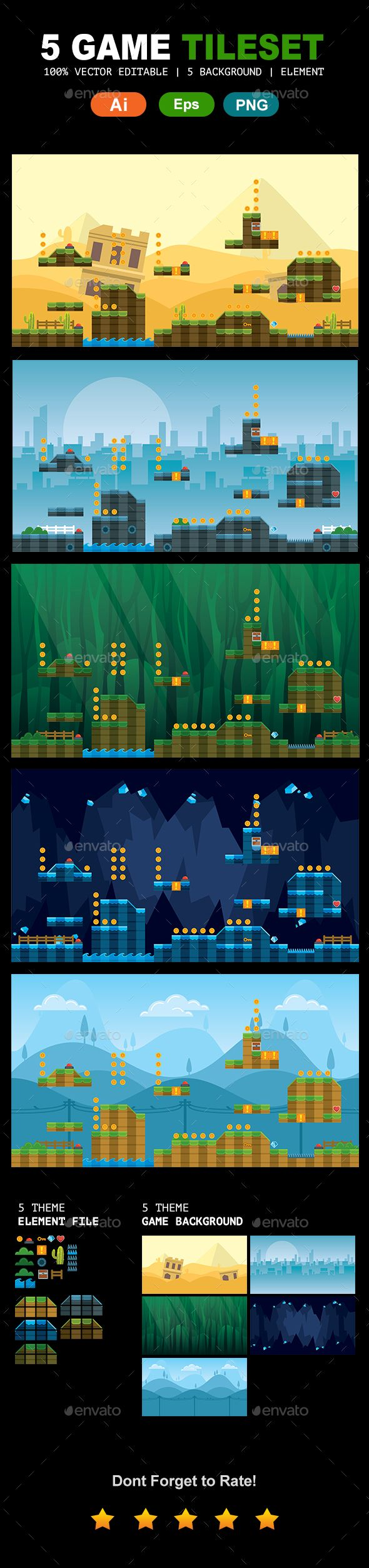 Gmail mountain theme background - 5 Tileset Game Backgrounds