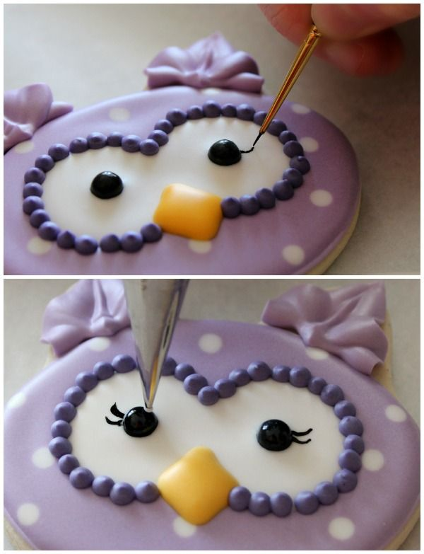 How to make polka dot owl cookies. (Even if you don't want to make owl cookies per se, the tutorial still has some useful tips for decorating cookies!).