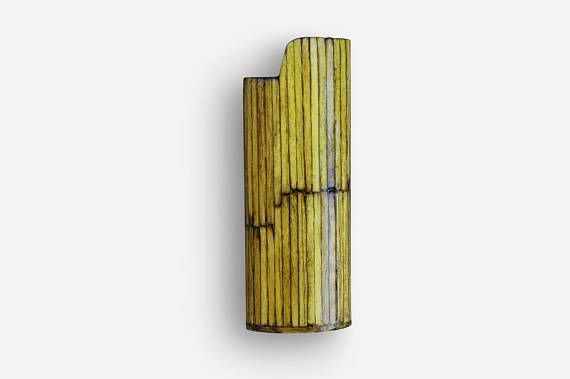 Handmade BIC Lighter Case by Burned Match Sticks  Olive Color The handmade case for BIC lighter is made by burned match sticks.  The burned match sticks are glued one by one then they are smoothed, painted and polished.
