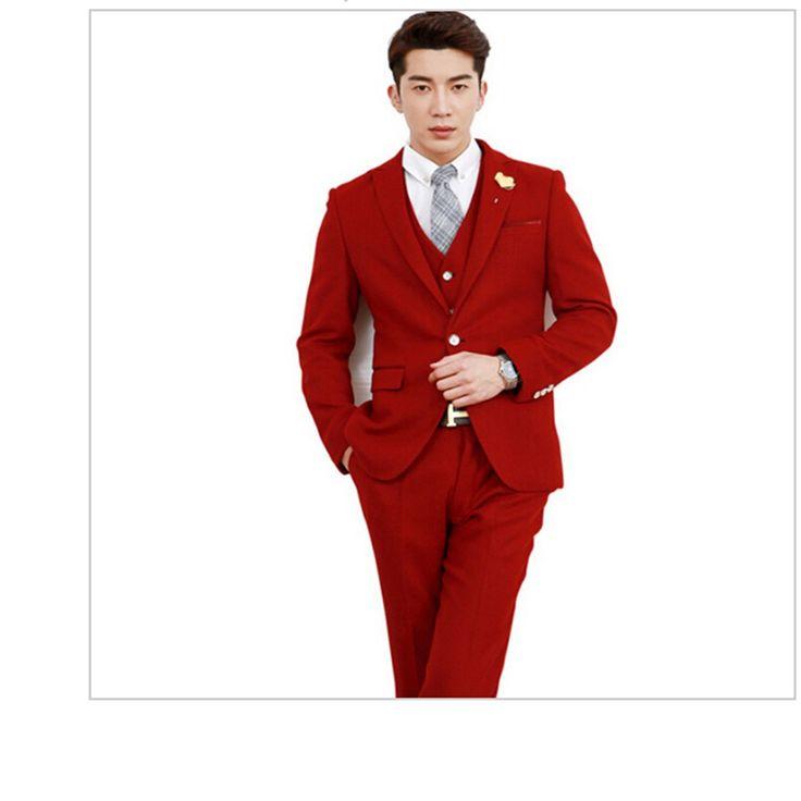 Мода Новейший Жених Костюмы Смокинг Молодой Человек Красный Свадебный Костюмы Красивый мужской Костюм-Тройку (пиджак + брюки + жилет) tm009