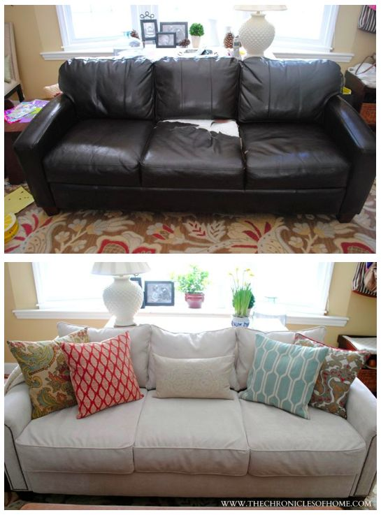 Newly Upholstered Sofa...what a difference!