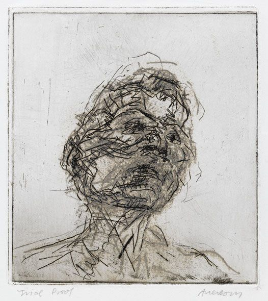 Frank Auerbach Lucian Freud 1980 Etching - 5 7/8 x 5 3/8 inches (15 x 13.5 cm) sheet 10 x 8 7/8 inches (25.5 x 22.5 cm)